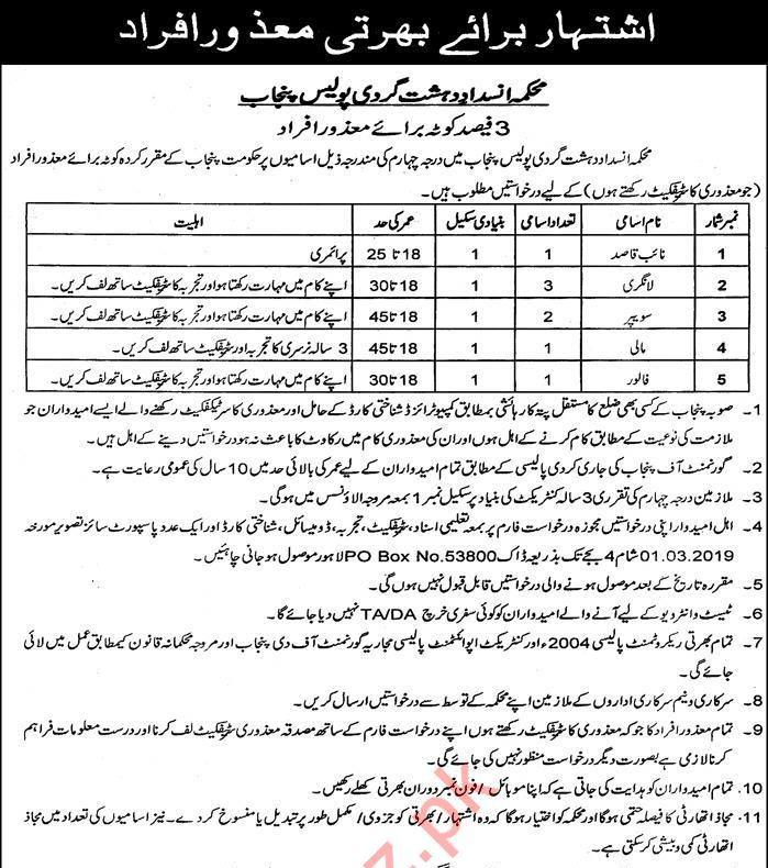 Counter Terrorism Department CTD Jobs 2019 in Lahore