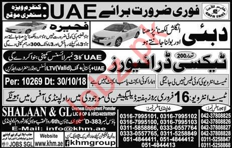 LTV Taxi Drivers Jobs 2019 For Dubai UAE