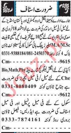 Daily Jang Newspaper Classified Teaching Jobs 2019 in Quetta