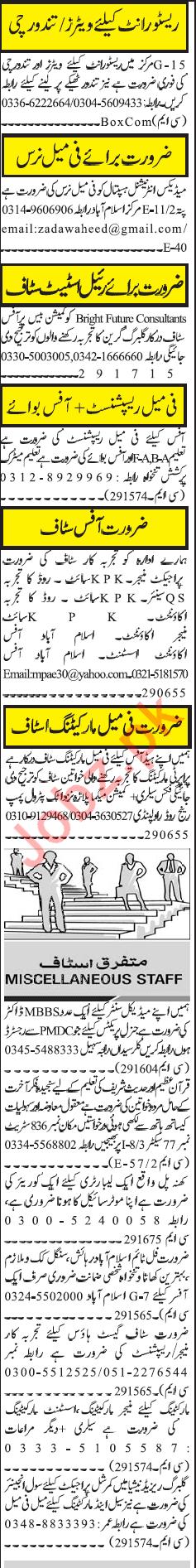Daily Jang Newspaper Classified Jobs 2019 For Rawalindi