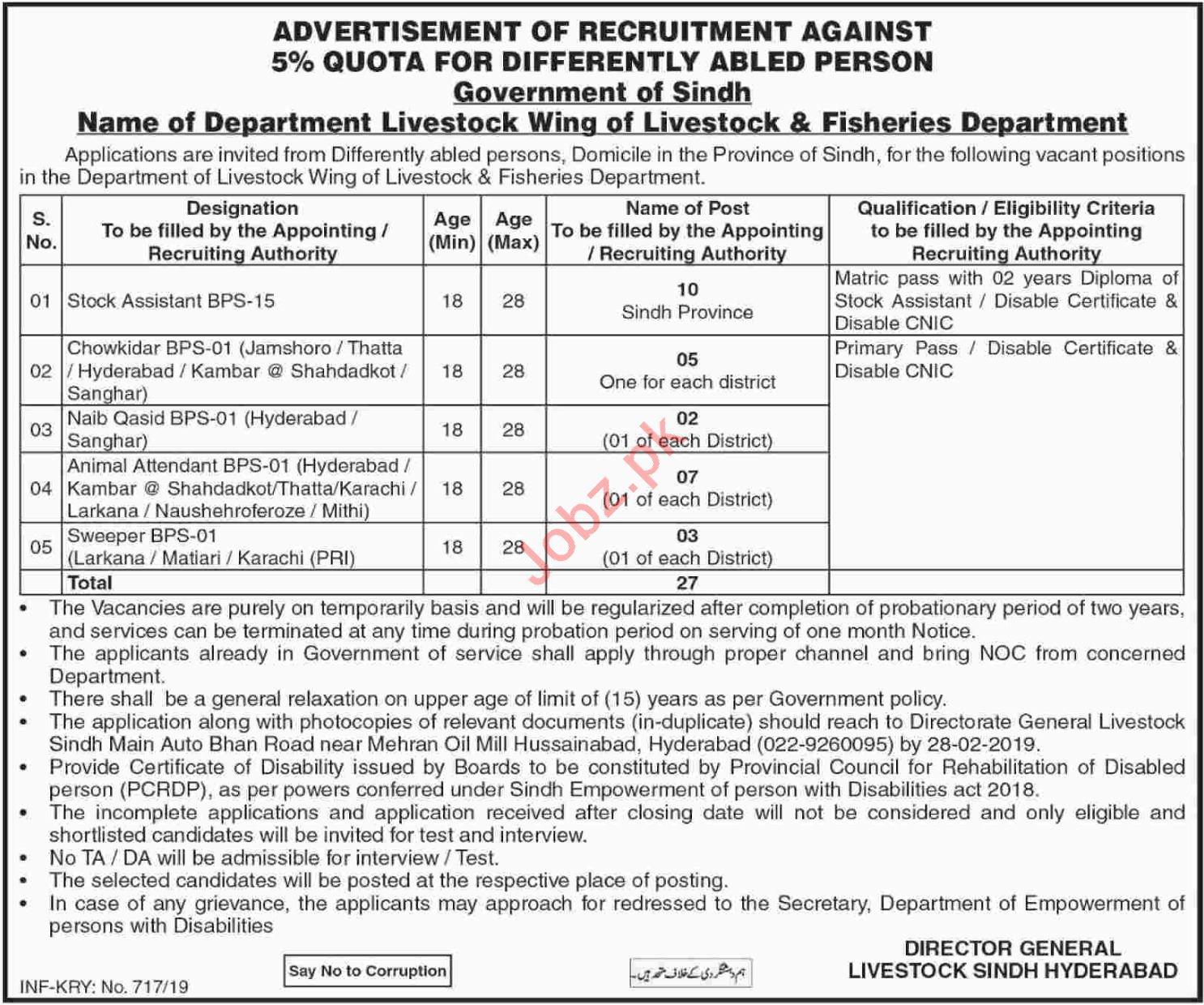 Livestock & Fisheries Department Sindh Jobs 2019