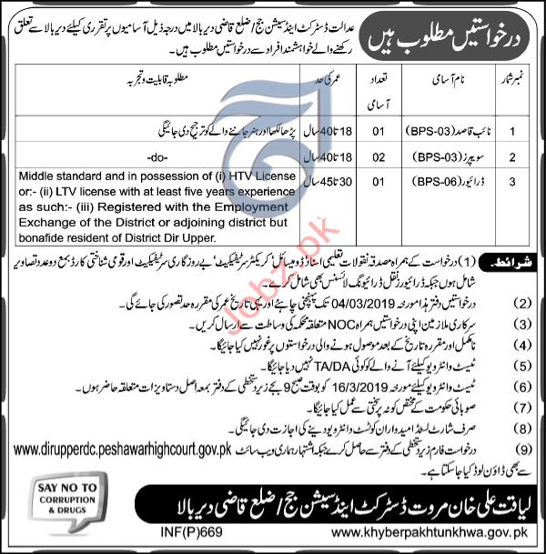 District & Session Judge Office Clerical Jobs 2019