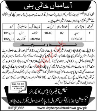 Excise Taxation & Narcotics Control Department Jobs 2019