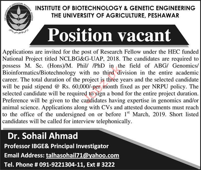 University of Agriculture Research Fellow Jobs 2019