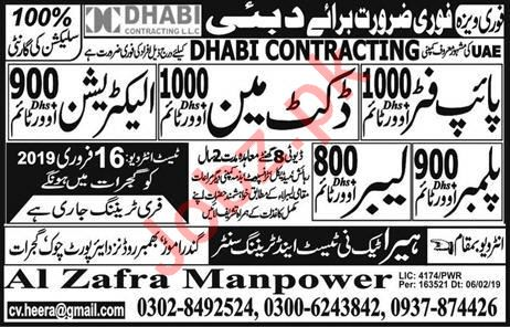 Pipe Fitter, Docket Man, Electrician, Plumber & Labor Jobs