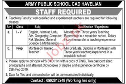 Army Public School Teaching Staff Jobs 2019