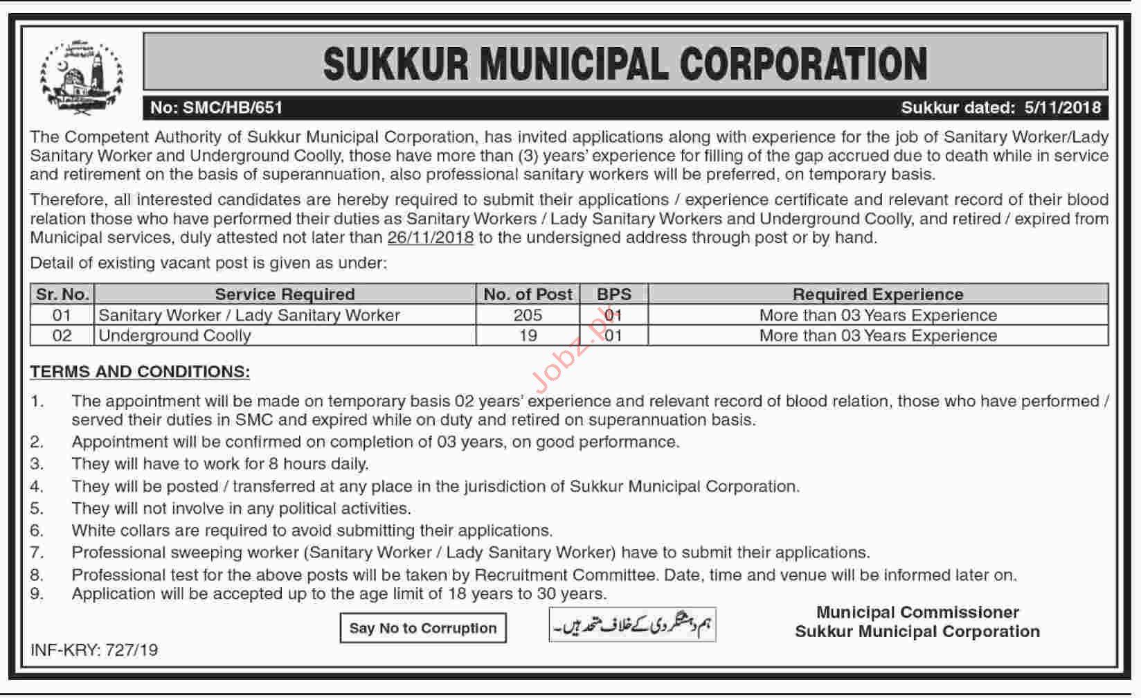 Sukkur Municipal Corporation Sanitary Worker Jobs 2019