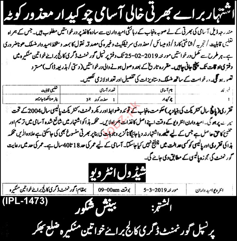 Chowkidar Jobs in Government Degree College For Women