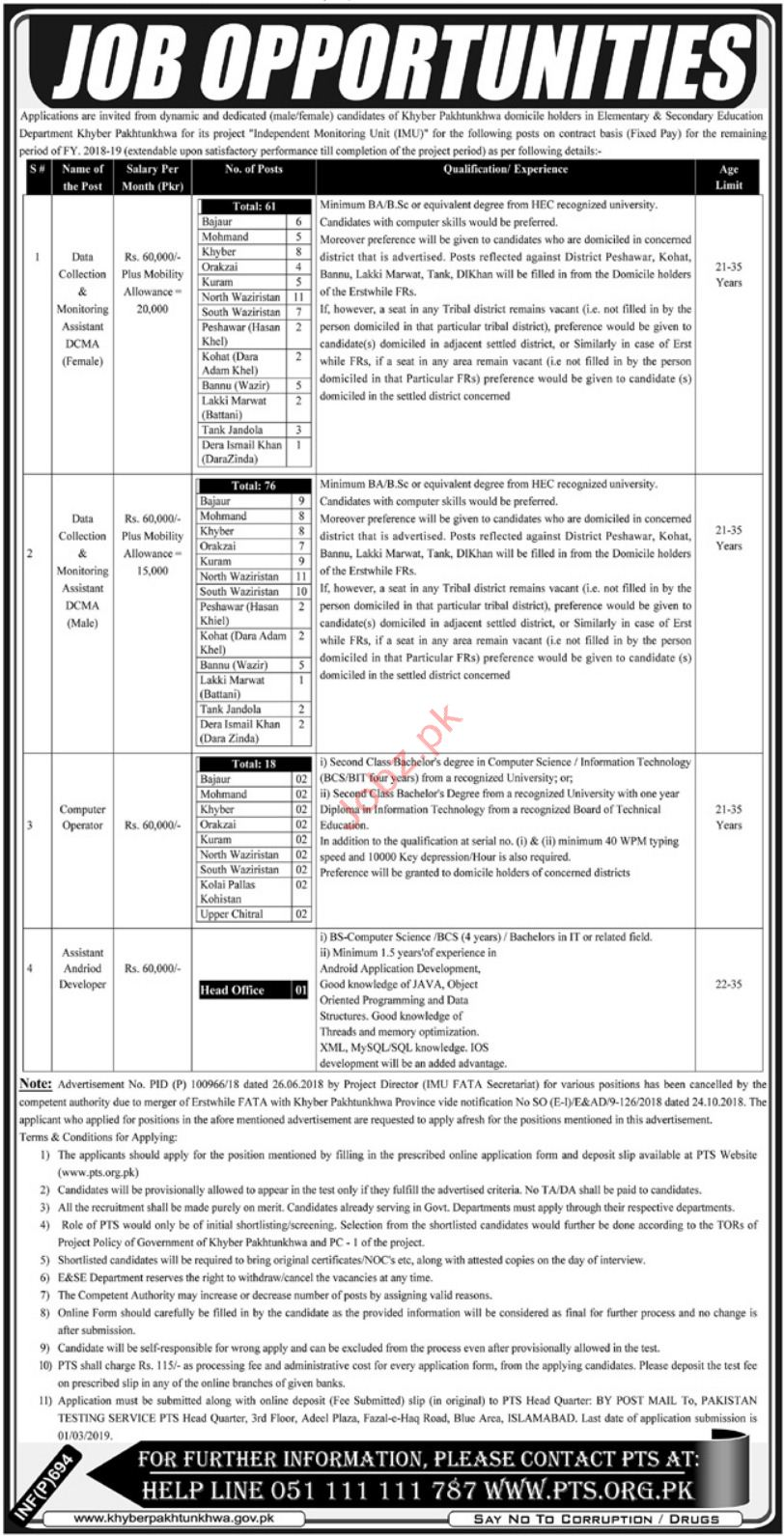 Elementary & Secondary Education Department Jobs 2019