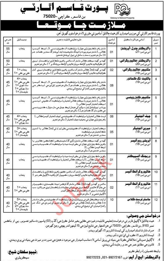 Port Qasim Authority PQA Jobs 2019 in Karachi