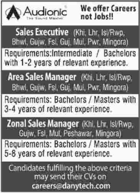 Audionic  Sales Executive Jobs 2019