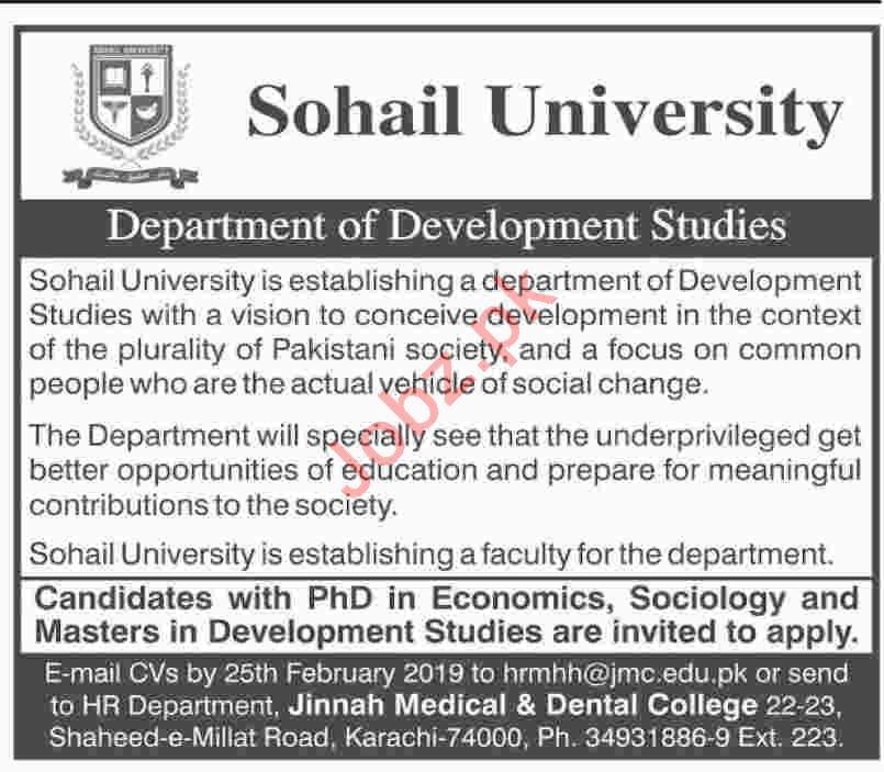 Economics Professor Jobs at Sohail University