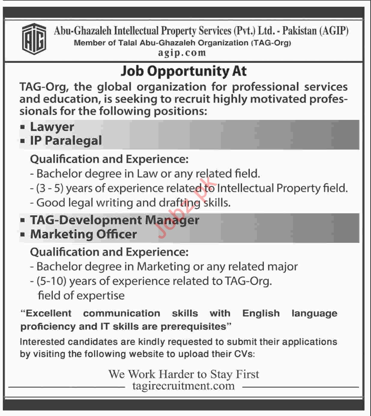 Abu Ghazaleh Intellectual Property Services Ltd Lawyer Jobs