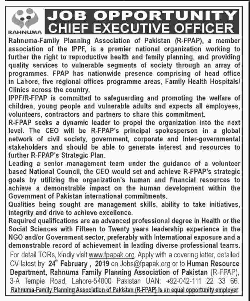 Rahnuma Family Planning Association Executive Officer Jobs