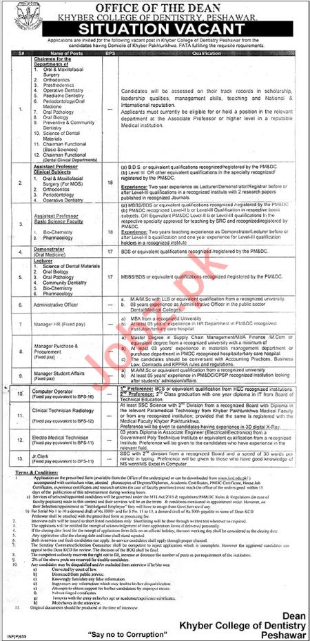 Khyber College of Dentistry Chairman Orthopedics Jobs 2019