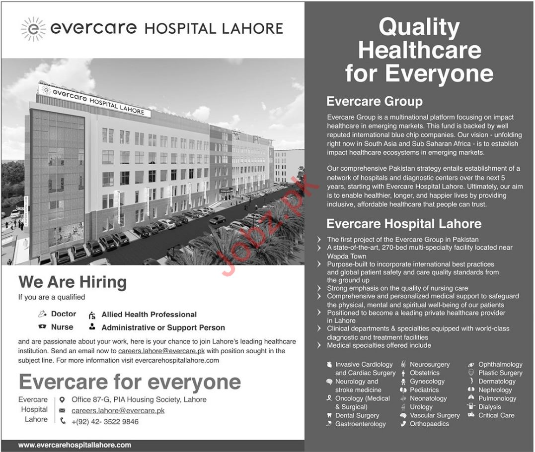 Evercare Hospital Lahore Doctor Job Opportunities