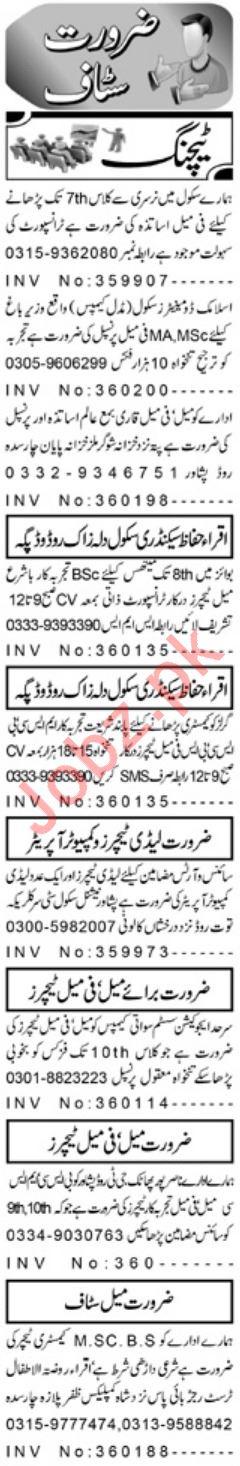 Aaj Sunday Newspaper Teaching Classified Jobs 17/02/2019