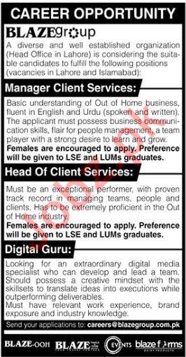 Blaze Pvt Ltd Manager Client Services Jobs