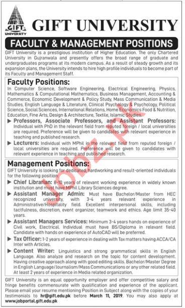 Gift University Professor Job Opportunities