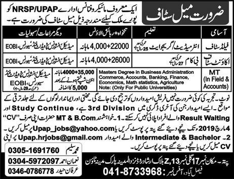 Accounts Staff jobs in Microfinance Department