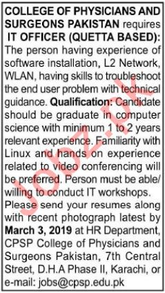 College of Physicians and Surgeons Pakistan CPSP Jobs 2019