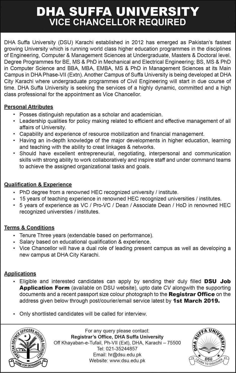 DHA Suffa University Vice Chancellor Jobs 2019