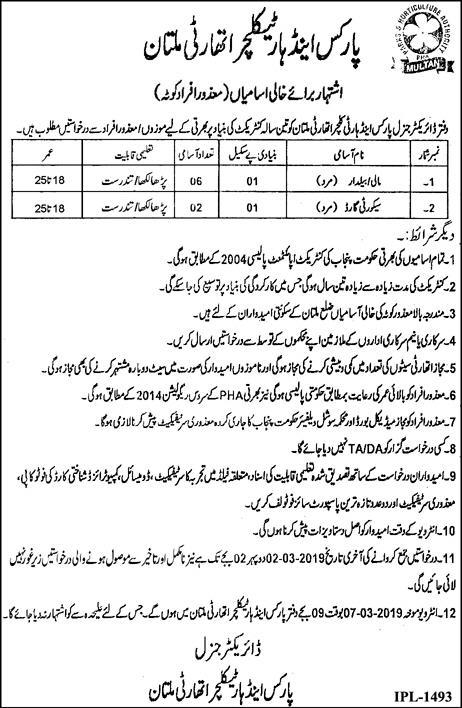 Mali & Security Jobs in Parks & Horticulture Authority