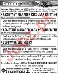 Combined Fabrics Ltd Assistant Manager Circular Knitting Job