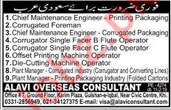 Engineers, Foreman, Managers & Machine Operators Jobs 2019