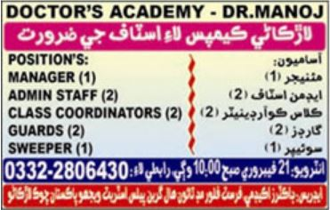 Doctors Academy Admin & Management Staff jobs 2019