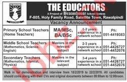 The Educators Satellite Town Rawalpindi Jobs 2019