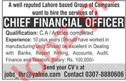 Chief Financial Officer CFO Job 2019 in Lahore