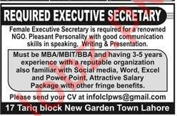 Executive Secretary Job Opportunities at NGO