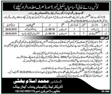Naib Qasid Jobs in Directorate of Land Reclamation