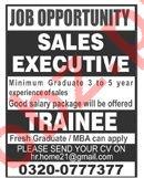 Sales Executive & Trainee Jobs 2019 in Islamabad