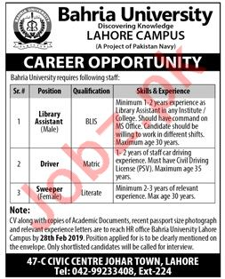 Library Assistant & Driver Jobs in Bahria University