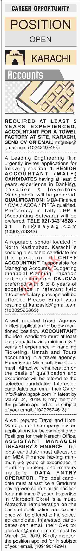 Dawn Sunday Classified Ads 17th Feb 2019 Accounts Staff