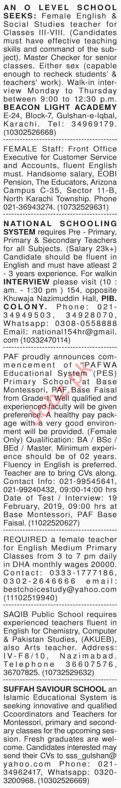 Dawn Sunday Classified Ads 17th Feb 2019 for Teaching Staff
