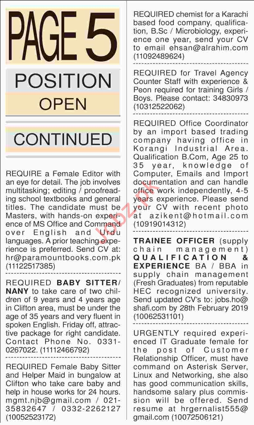 Dawn Sunday Classified Ads 17th Feb 2019 Miscellaneous Staff