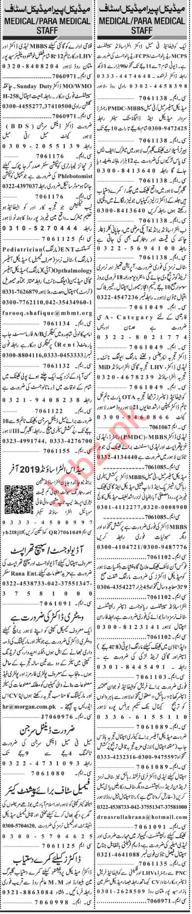 Jang Sunday Classified Ads 17th Feb 2019 for Medical Staff