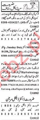 Nawaiwaqt Sunday Classified Ads 17th Feb 2019 Medical Staff