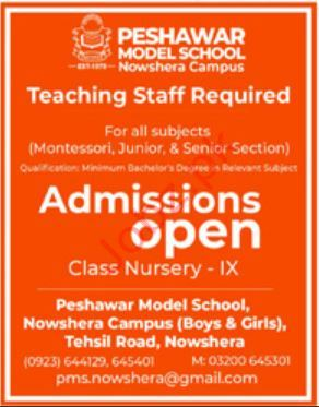 Teaching Staff Jobs in Peshawar Model School
