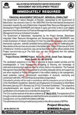 BIWRMD Financial Management Staff jobs 2019