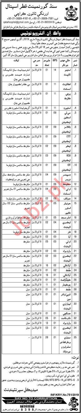 Qatar Hospital Orangi Town Karachi Jobs 2019 for Technicians