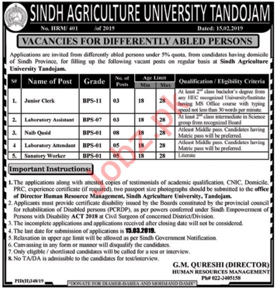 Sindh Agriculture University Tandojam Jobs 2019