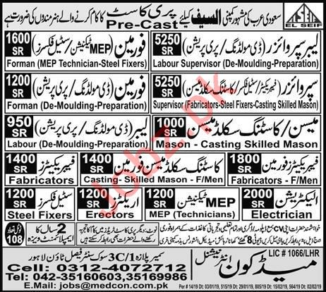Labor Supervisor, Foreman, Steel Fixer & MEP Technician Jobs