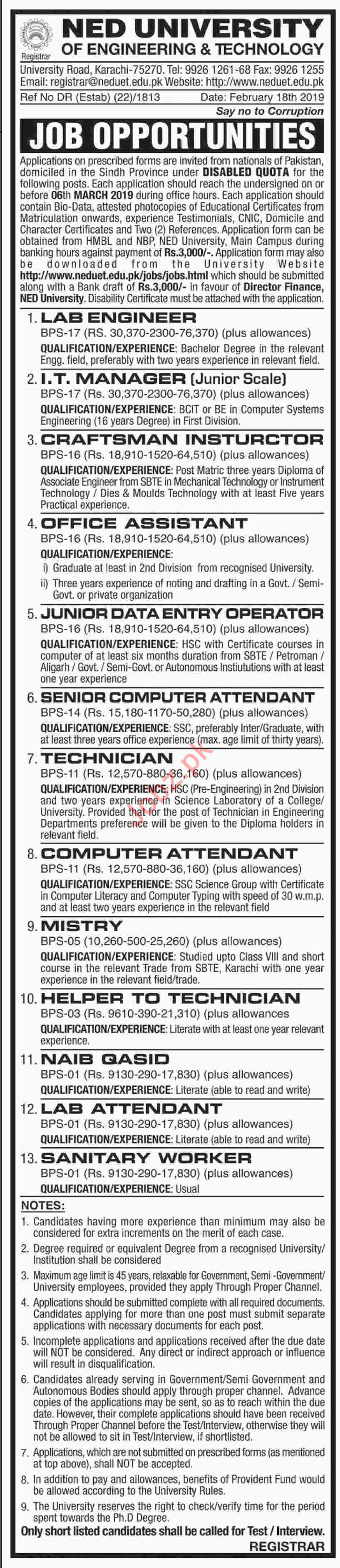 NED University Jobs 2019 for Lab Engineer & IT Manager