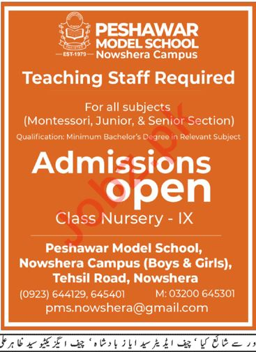 Peshawar Model School Nowshera Campus Jobs 2019