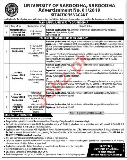 University of Sargodha UOS Jobs 2019 for Assistant Professor