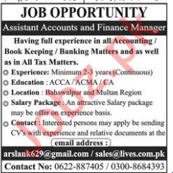 Assistant Accountant & Finance Manager Jobs 2019